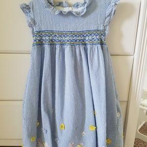 Mini Boden Frill Sleeve Smocked Dress